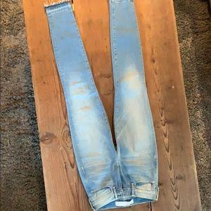 AYR light wash skinny jeans with raw hem Size 24